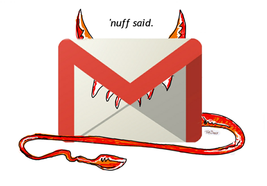 Gmail, as the devil, plus bonus tagline from Sharknado. How much more awesome can one illustration contain?