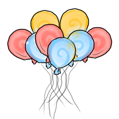 I really wasn't sure what to put here, but it needed a splash of color, so... more balloons! Try to look excited, ok?